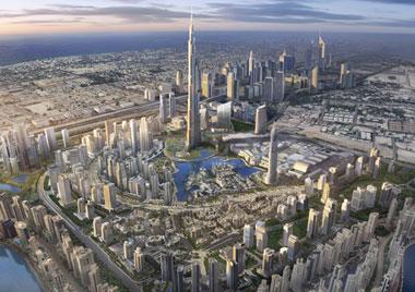 Downtown-Dubai mit Burj Kalifa